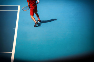 53030780 - man plays  at the tennis court