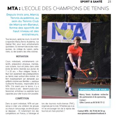 Marcq Tennis Académie : La presse en parle